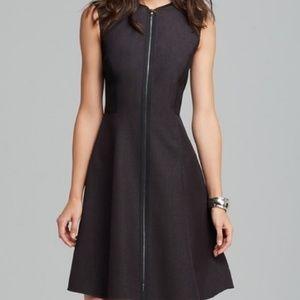 T Tahari Black Zip Front Fit and Flare Dress